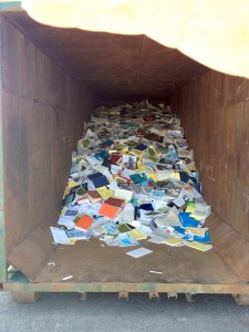 A dumpster at the Fisheries and Oceans Canada library in Mont-Joli, Quebec in an image sent by a federal union official.